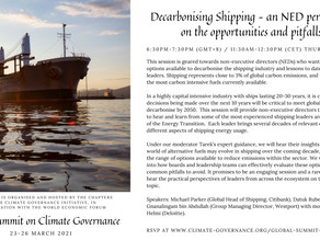 "Reflections on the Global Summit session ""Decarbonising Shipping"""