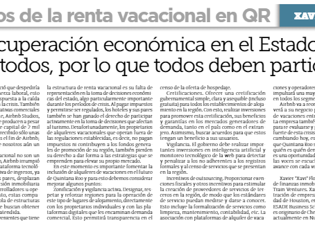 The challenges for the inclusion of vacation rental units in Quintana Roo