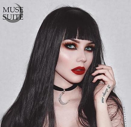 Basic Crescent Moon Choker; black velvet gothic- Witchy Line,Goddessy Serie
