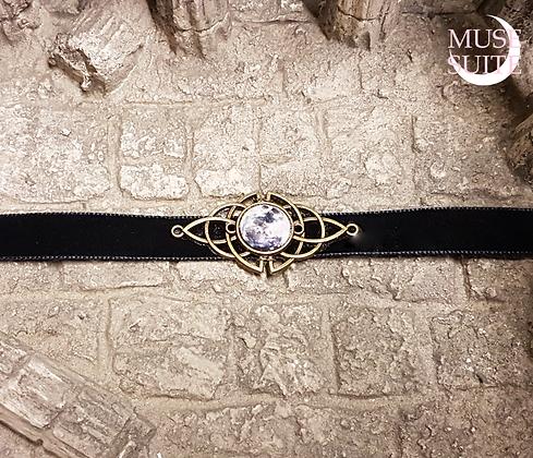 Full Moon and Triketa Choker in black velvet lace - Witchy Line - Goddessy