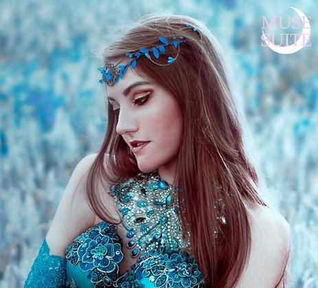 Nymph Circlet - Fantasy tiara, blue forest crown