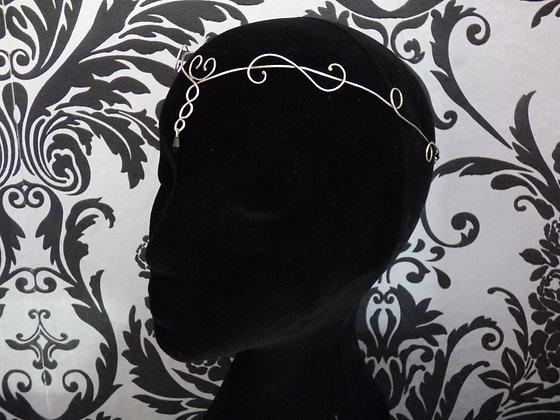 Elven tiara - Elf crown Unisex - Sterling Silver with black swarovski crystal