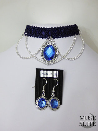 Blue Choker SET with earrings- Disney Princess frozen - bluemarine cameo