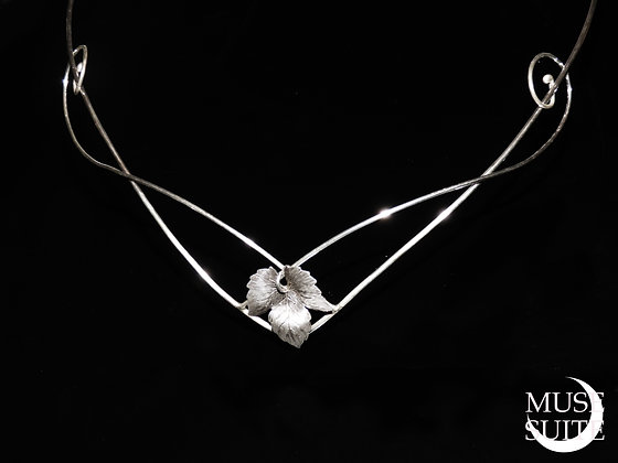 Elven tiara with leaf - Elf crown Unisex - Sterling Silver.