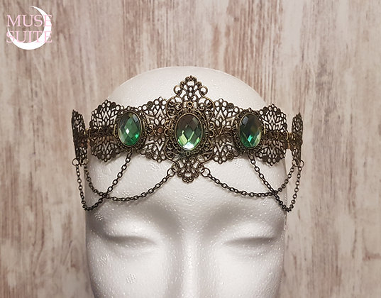 Medieval Royal Crown, baroque circlet,victorian steampunk tiara with green cameo
