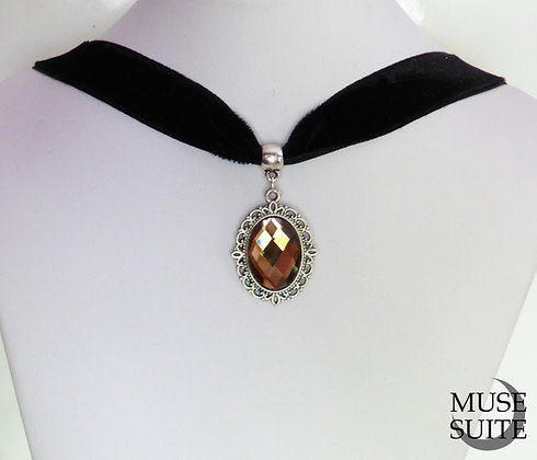 Gold Cameo Choker - victorian choker - baroque velvet necklace