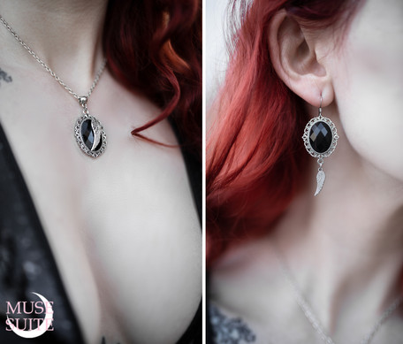 SET - black cameo necklace and earrings.