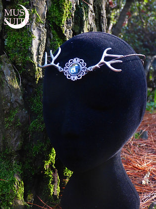 Viking Crown - wiccan tiara -folk diadem - moon cameo with deer antlers