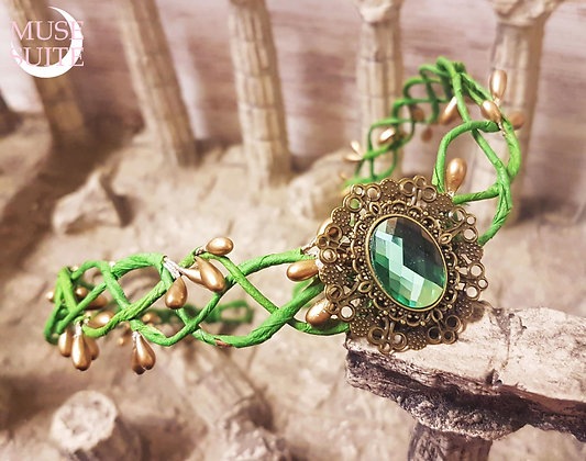 Elf crown, Unisex elvish tiara with green branches and gold berries,elven diadem