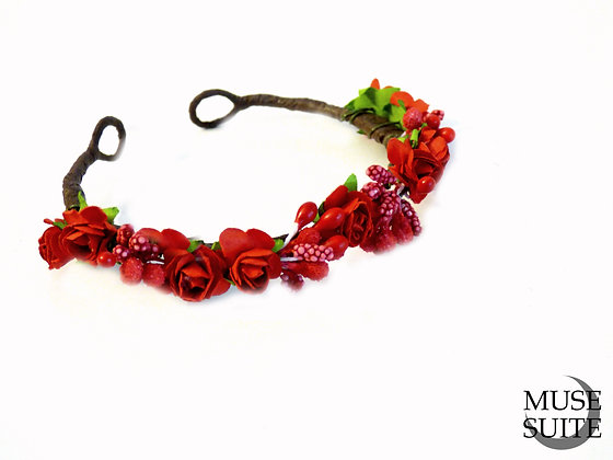 Red flower Cat Crown - Diadem for cats (and littledogs)