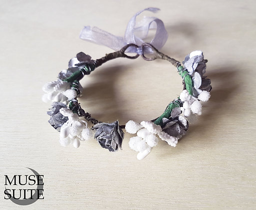 Cat crowns - diadem for cats - flower circlet for little pets - silver and white