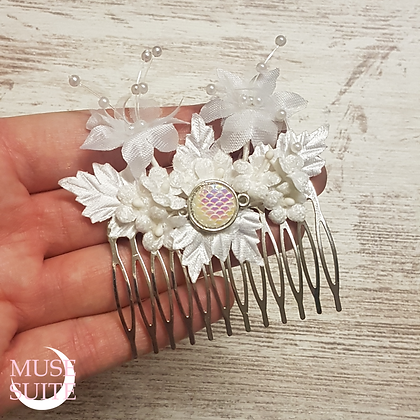 Mermaid cameo Haircomb, with leaves & flowers, Bride Hair Accessory.