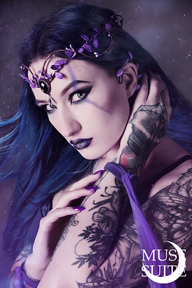 Purple Branch Tara, SET with ear cuff, faery diadem - FAIRY SERIE