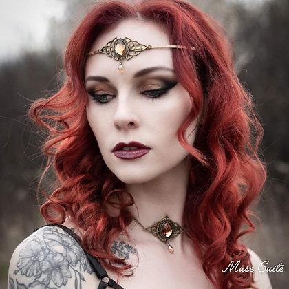 Celtic Soul SET/piece - triketa diadem, gold triqueta necklace, celtic jewelry.