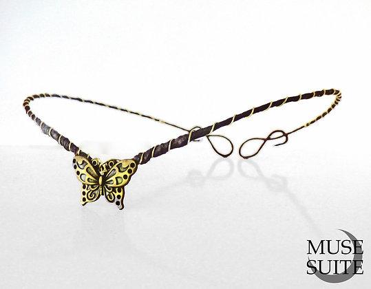Butterfly Tiara, gold butterfly circlet, folk diadem, pagan crown, celtic elvish