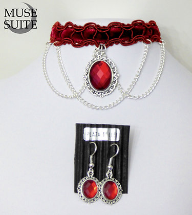 Red Choker SET with earrings - red cameo