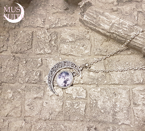Crescent Moon Necklace with full moon cameo - Goddessy Collection.