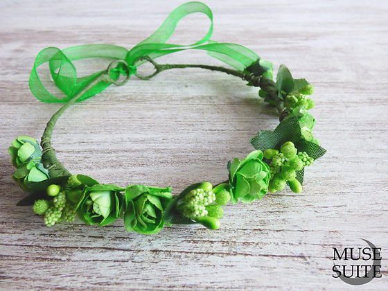 Baby Crowns green flowers - Tiaras for babies - Baby diadem -babie's c