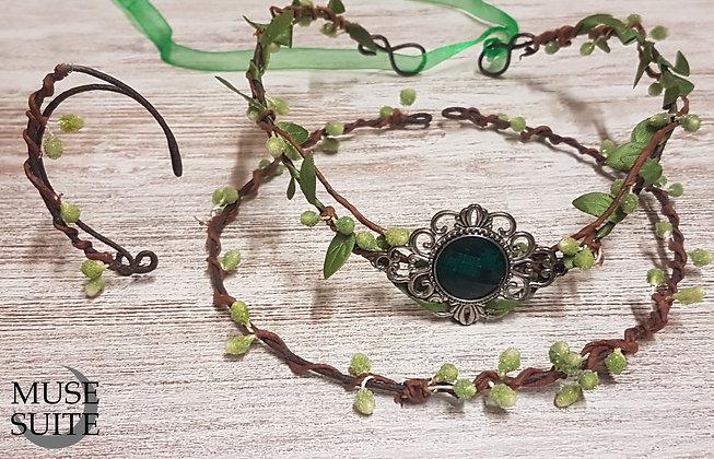 Elvish SET/Piece of a Tiara, Tork necklace and ear cuffs . Elf & fancy jewelry.