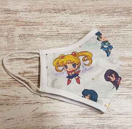 Sailormoon Face Mask Cover made in cotton fabric 100%.