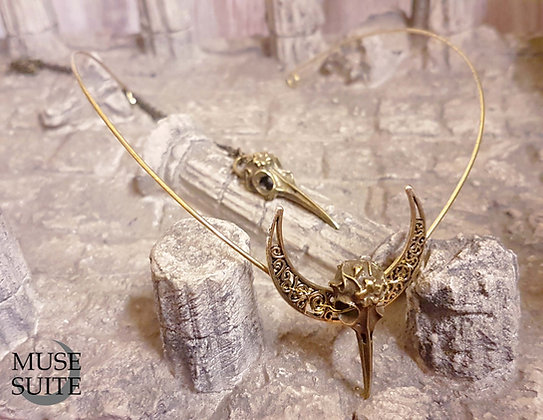 Gold Crow Skull Set of a brass tiara and necklace - Gothic Witch Collection.