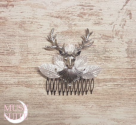Silver Deer Haircomb, with white leaves. - Pagan Forest Line.