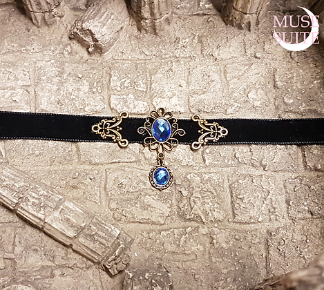 Elven Choker with blue cameo,victorian chokers - Antique Touch Collection