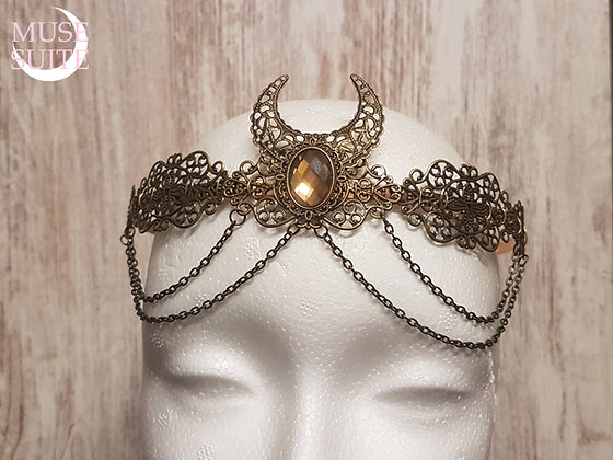 Medieval Royal Crown, baroque circlet,victorian steampunk tiara + crescent moon.