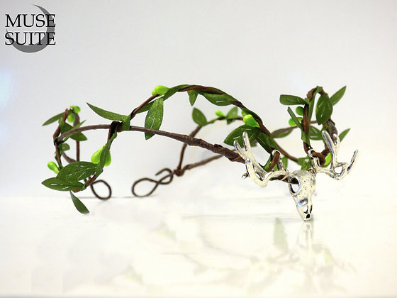 Deer Tiara in silver, leaves and artificial branches - viking, wiccan