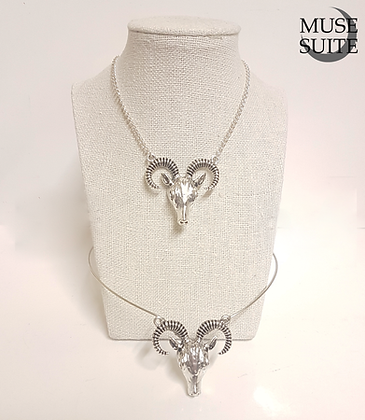 Goat Silver Set of a tiara and necklace - Gothic Witch Collection