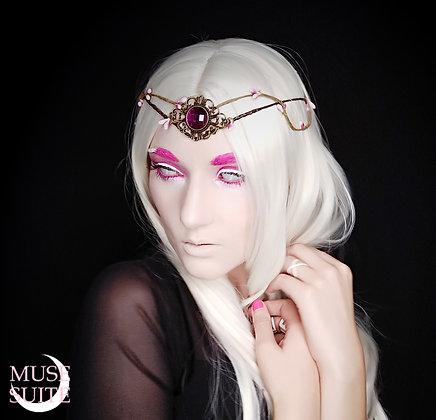 Alchemyst Nymph Circlet - Fantasy tiara, pink forest crown