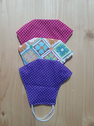 Set 3 MASKS, 100% Cotton Fabric - Free Shipping SET 14