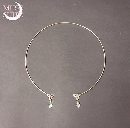 TriketaTork Necklace with AB-SW teardrop Sterling Silver wrap - celtic necklace