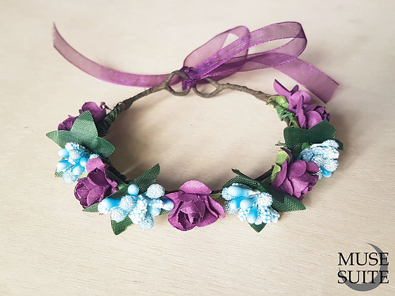 Cat crowns - diadem for cats - flower circlet for pets - purple and light blue