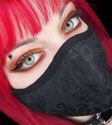 Damasc Face Mask Cover - black masque