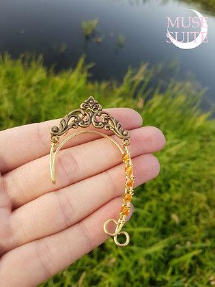 Elven ear cuffs, elf earrings, faery ear wrap - brass, baroque style
