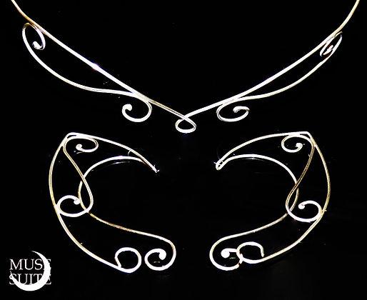 Elvish set with tiara & ear cuffs, celtic style.