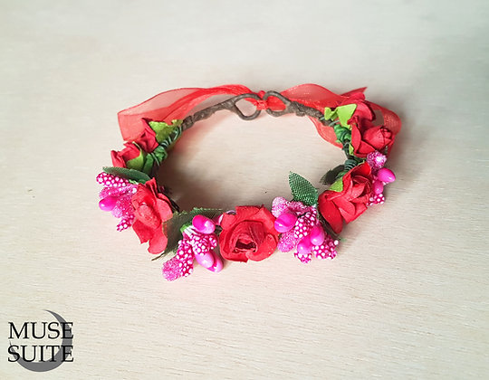 Cat crowns - diadem for cats - flower circlet for little pets - red and fuchsia