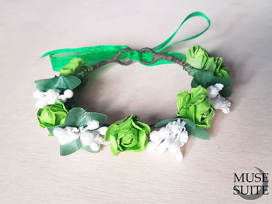 Cat crowns - diadem for cats - flower circlet for little pets - green and white