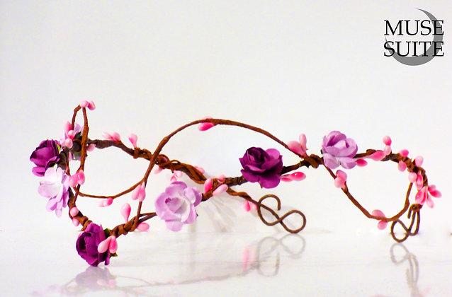 Medieval Diadem, Celtic tiara,Purple Pink crown.