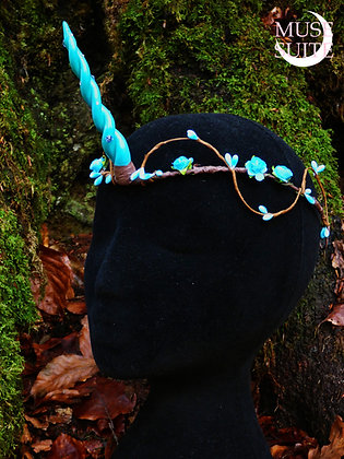 Unicorn horn tiara - crown - fantasy diadem - fancy circlet unicorns - blue