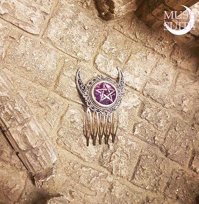 Witchcraft Haircomb, Wiccan witchy hairpin with crescent moon and pentacle.