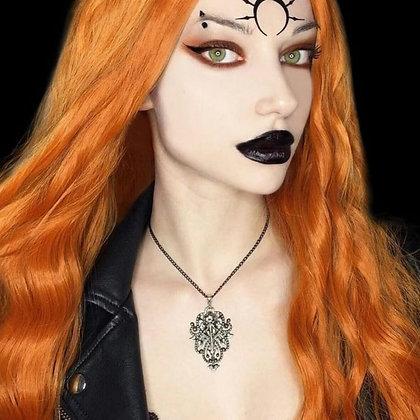 Crow soul Necklace - raven skull pendant