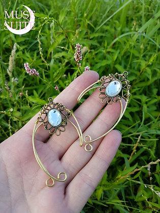 Elf ear cuffs, elven earrings, faery ear wrap, brass jar cameo - white