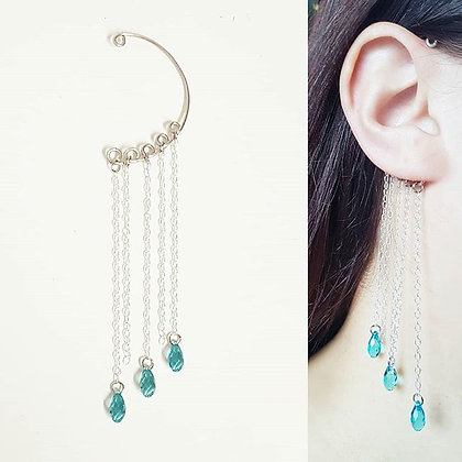 Elegant ear cuff - back ear cuff with swarovski crystals