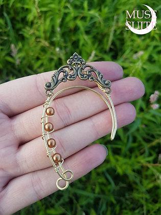 Elf ear cuffs, elven earrings, faery ear wrap - brass, cooper pearl, baroque