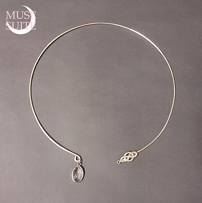 Celtic know Tork Necklace in Sterling Silver, with crystal.