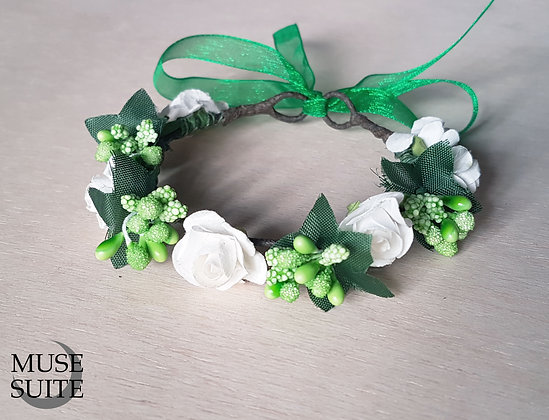 Cat crowns - diadem for cats - flower circlet for little pets - white and green