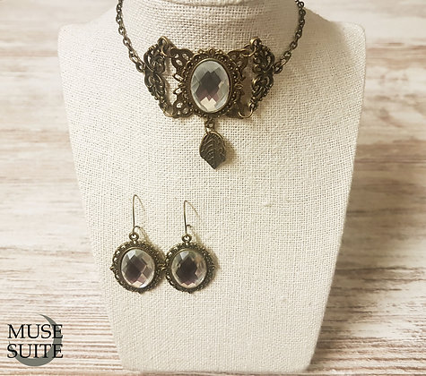 Baroque SET/Piece of Necklace & Earrings, victorian jewelry steampunk with leaf.