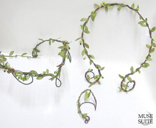 Elvish set - elven tiara with elf ear cuff and elvish tork neckalce